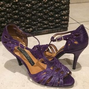 Arils Nerguiz Purple Leather Ballroom Dance Heels